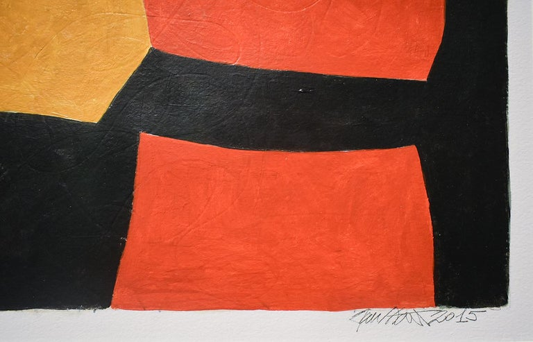 Vase: Abstract Mid Century Modern Painting in Red, Orange, Black & Beige, Framed For Sale 5