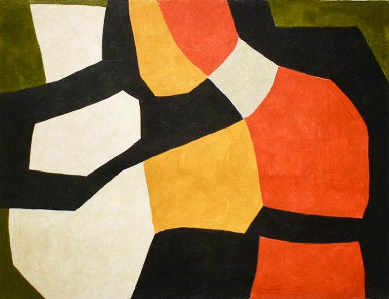 Ralph Stout Abstract Painting - Vase: Abstract Mid Century Modern Painting in Red, Orange, Black & Beige
