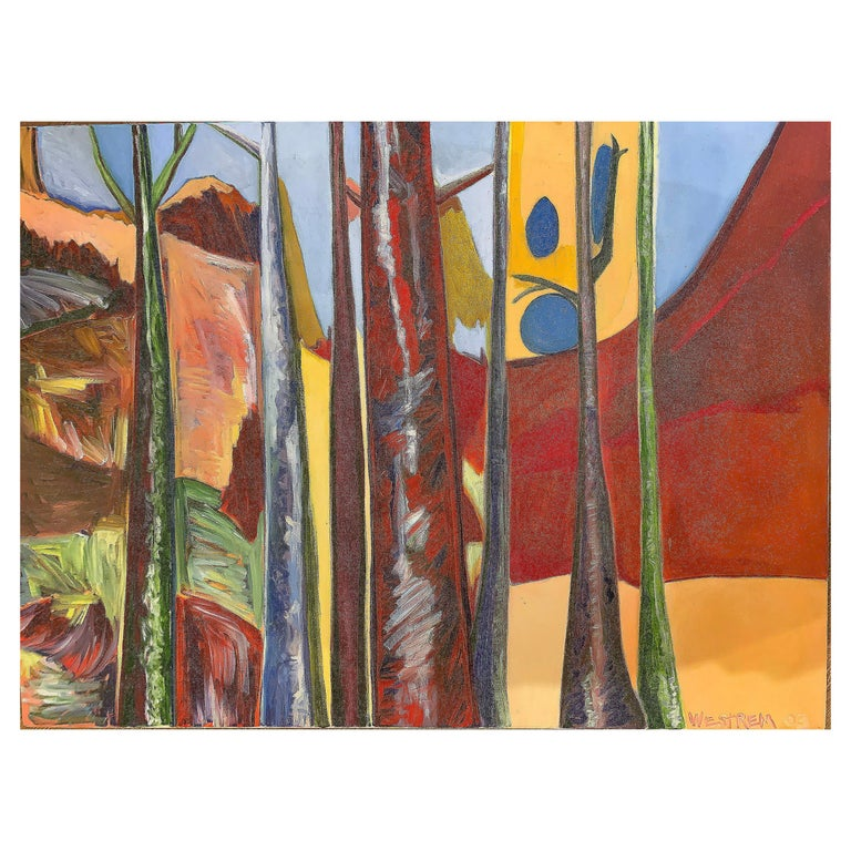 """""""Ralph's Trees"""" Semi-Abstract Acrylic on Canvas Painting by Westrem For Sale"""