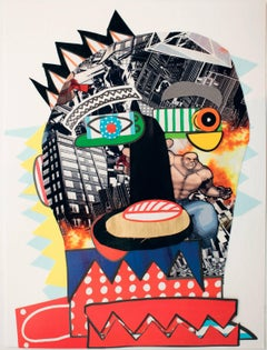 Guilty Bert (Gilbert) - Contemporary, Collage, Funny, Red, Pop Art, Framed