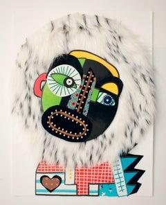 HAIRry OLD (Harold) - Collage, 21st Century, White, Portrait, Framed, Pop Art