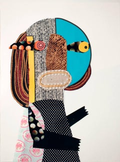 Lay your ear (Lear) - Collage, Contemporary, Funny, Women, Blue, Small, Framed