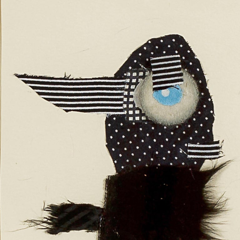 One eyed man, 2014 Textile collage on paper 6 4/5 × 4 7/10 in 17.2 × 12 cm  Raluca Arnăutu creates a zoomorphic world, where animals from different worlds are mixed, resized, reconstituted or rethought. These are characters that roam the world up