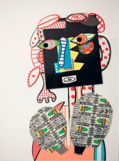 Say O'Harra (Sarrah) - Contemporary, Funny, Collage, Framed, Black, Woman, Red