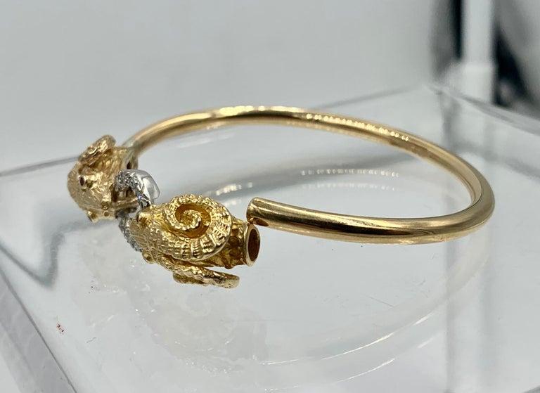 Ram Head Aries Bangle Bracelet Diamond Ruby 14 Karat Gold For Sale 4