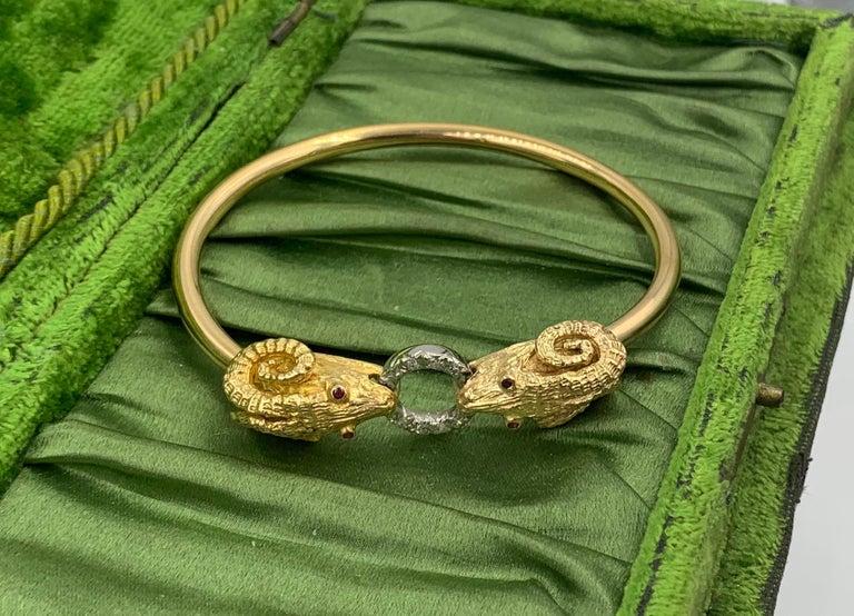 Contemporary Ram Head Aries Bangle Bracelet Diamond Ruby 14 Karat Gold For Sale