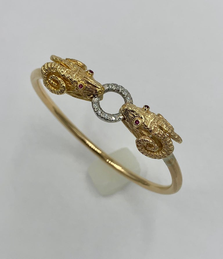 Round Cut Ram Head Aries Bangle Bracelet Diamond Ruby 14 Karat Gold For Sale
