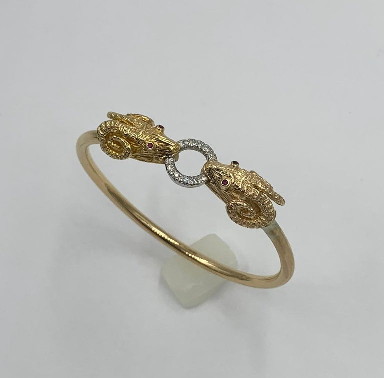 Ram Head Aries Bangle Bracelet Diamond Ruby 14 Karat Gold In Good Condition For Sale In New York, NY