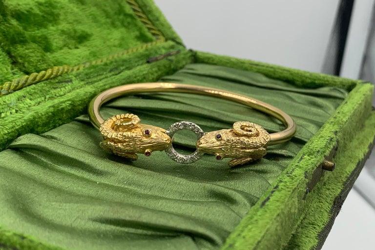 Ram Head Aries Bangle Bracelet Diamond Ruby 14 Karat Gold For Sale 1