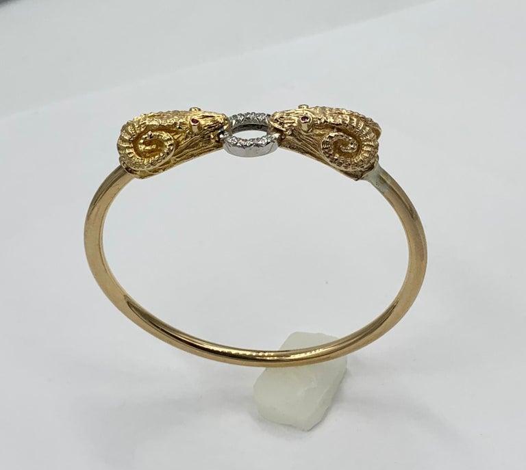 Ram Head Aries Bangle Bracelet Diamond Ruby 14 Karat Gold For Sale 2