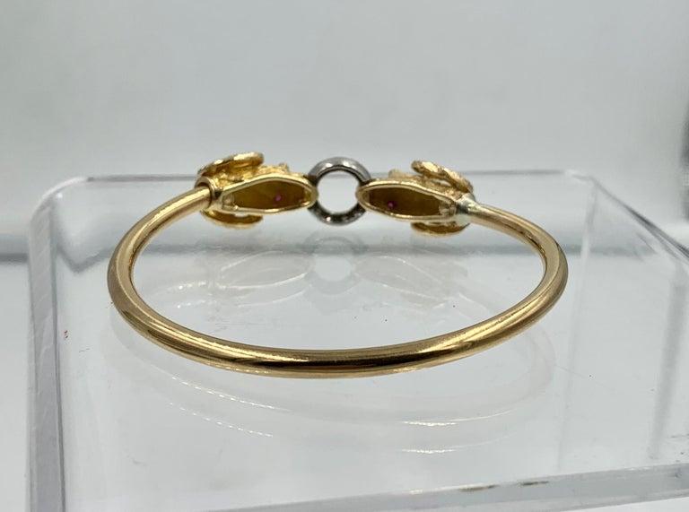 Ram Head Aries Bangle Bracelet Diamond Ruby 14 Karat Gold For Sale 3