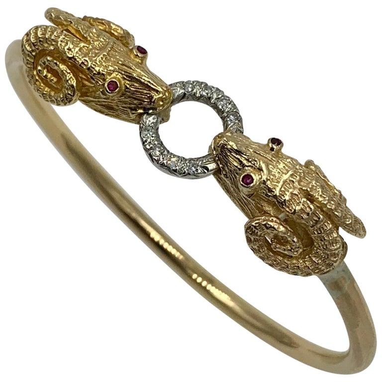 Ram Head Aries Bangle Bracelet Diamond Ruby 14 Karat Gold For Sale