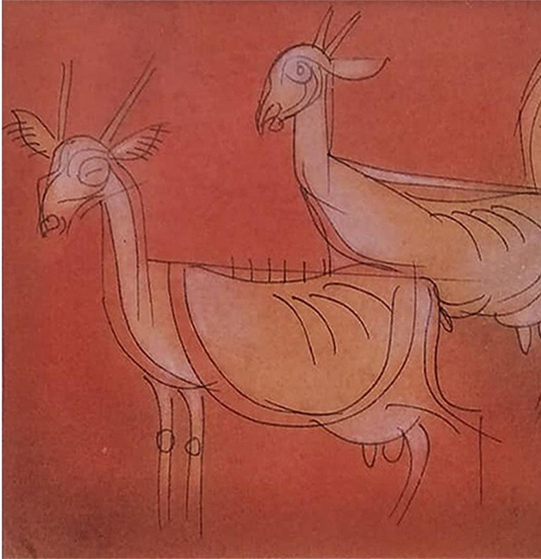 Goats, Mixed Media on paper, Brown, Red by Modern Artist