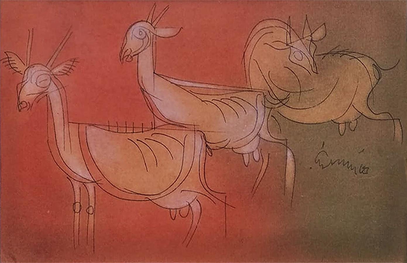 """Goats, Mixed Media on paper, Brown, Red by Modern Artist""""In Stock"""""""