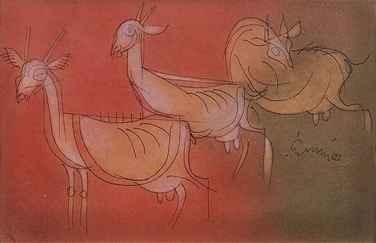 """Goats, Mixed Media on paper, Brown, Red by Modern Artist""""In Stock"""" - Mixed Media Art by Ramananda Bandopadhayay"""