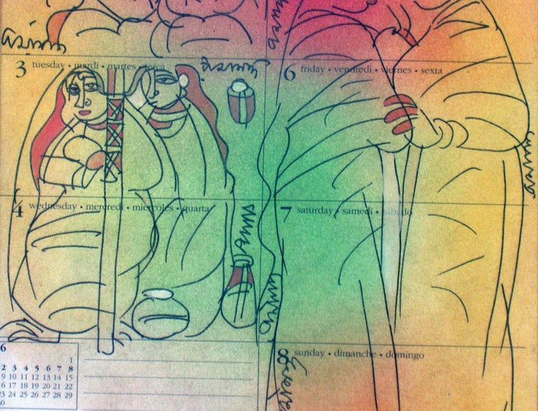 Gossiping woman, Mixed Media in green, red, yellow by student of Nandalal Bose For Sale 1