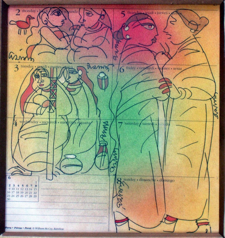 Gossiping woman, Mixed Media in green, red, yellow by student of Nandalal Bose - Mixed Media Art by Ramananda Bandopadhayay