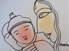 """Mother & Child, Pastel & Ink on Paper by Modern Artist """"In Stock"""""""