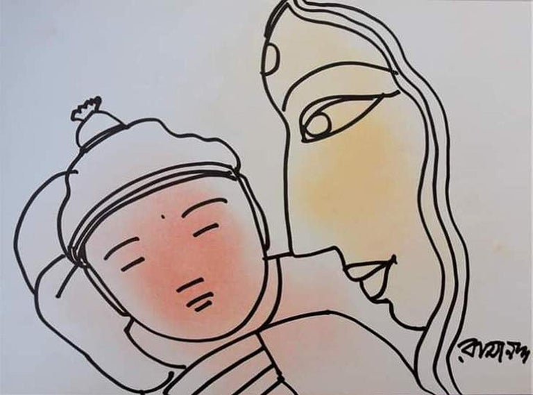 """Mother & Child, Pastel & Ink on Paper by Modern Artist """"In Stock"""" - Mixed Media Art by Ramananda Bandopadhayay"""