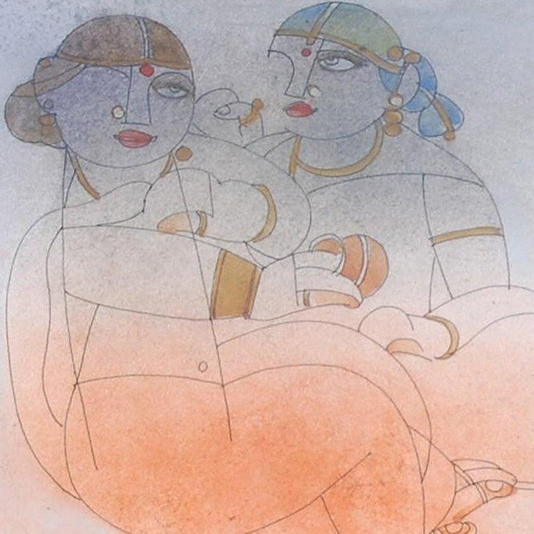 Saheli, Mixed Media, Brown, Orange, Red by student of Nandalal Bose