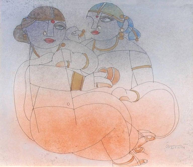 "Ramananda Bandopadhayay Figurative Painting - Saheli, Mixed Media, Brown, Orange, Red by student of Nandalal Bose ""In Stock"""