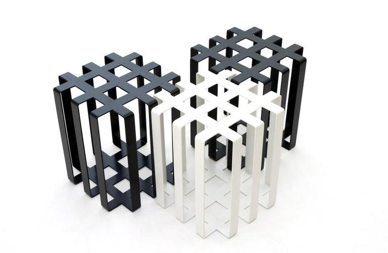 American Ramen Geometric Modern Sculptural Side Table Black Powder-Coated Steel For Sale