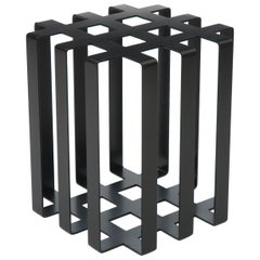 Ramen Geometric Modern Sculptural Side Table Black Powder-Coated Steel