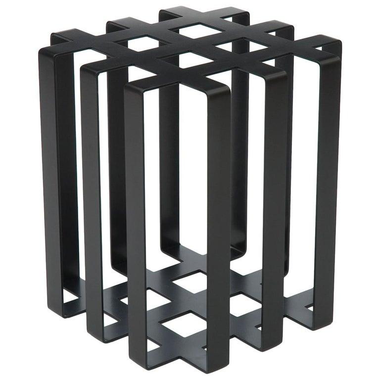Ramen Geometric Modern Sculptural Side Table Black Powder-Coated Steel For Sale