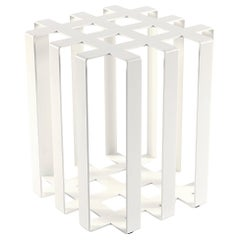 Ramen Geometric Modern Sculptural Side Table White Powder-Coated Steel