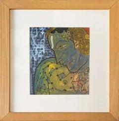 """Vishnu, Gouache on Board by Ramesh Gorjala Artist """"In Stock"""""""