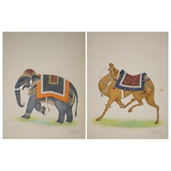 Ramesh Shames, Indian Pair of Elephant and Camel Paper Drawings, 1970s