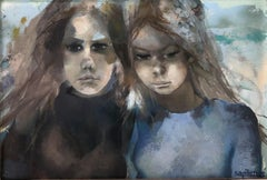 Two young women original acrylic on board painting c.1980
