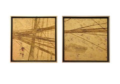 Healing Process #2 and #1 Diptych, Framed Mixed Media on Canvas