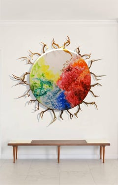 Circle of Life, Mixed Media on Canvas with Antlers, Large Size, 2014