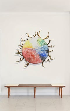 Circle of Life, Mixed Media on Canvas with Antlers, Medium Size, 2014
