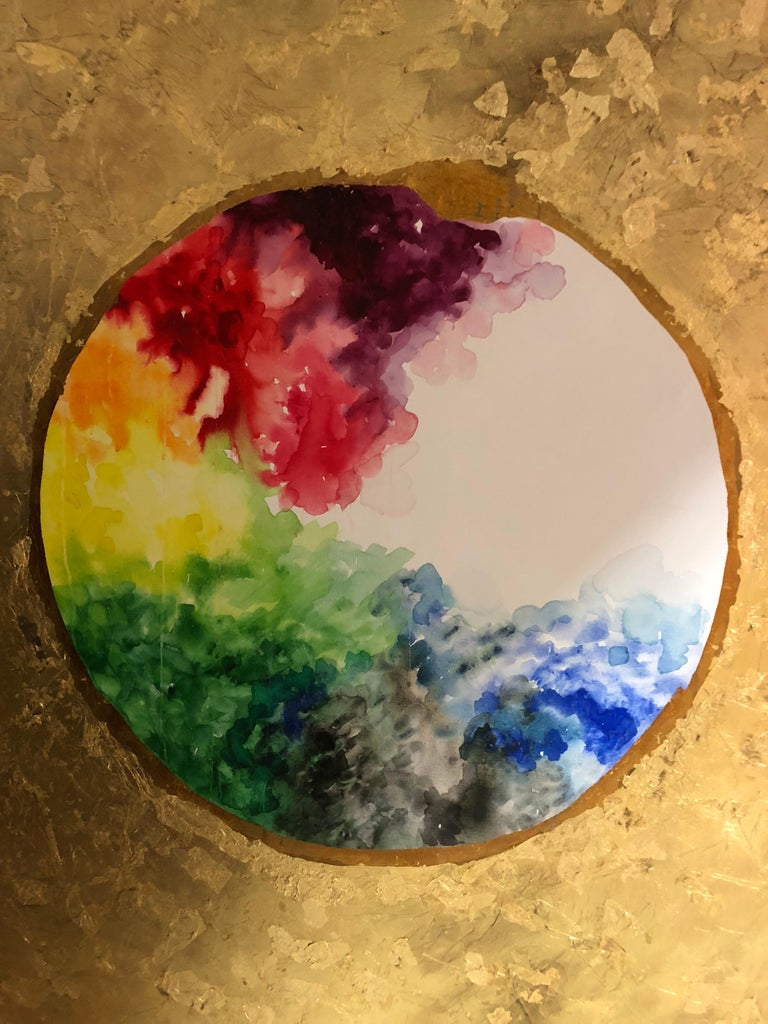 Circle of life. Oil paint, watercolor, ink, acrylic paint,  gold leaf on canvas - Painting by Ramon Aular