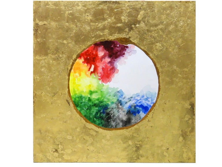 Circle of life. Oil paint, watercolor, ink, acrylic paint,  gold leaf on canvas - Brown Abstract Painting by Ramon Aular