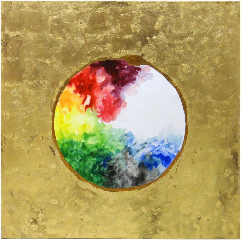 Ramon Aular Abstract Painting - Circle of life. Oil paint, watercolor, ink, acrylic paint,  gold leaf on canvas
