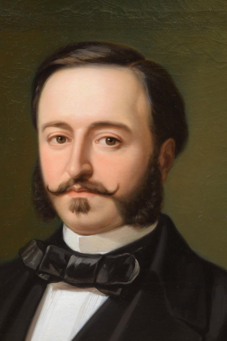 Neoclassical Ramón de Campoamor, Oil on Canvas, Signed, Ojeda Y Siles, Manuel, 1857 For Sale