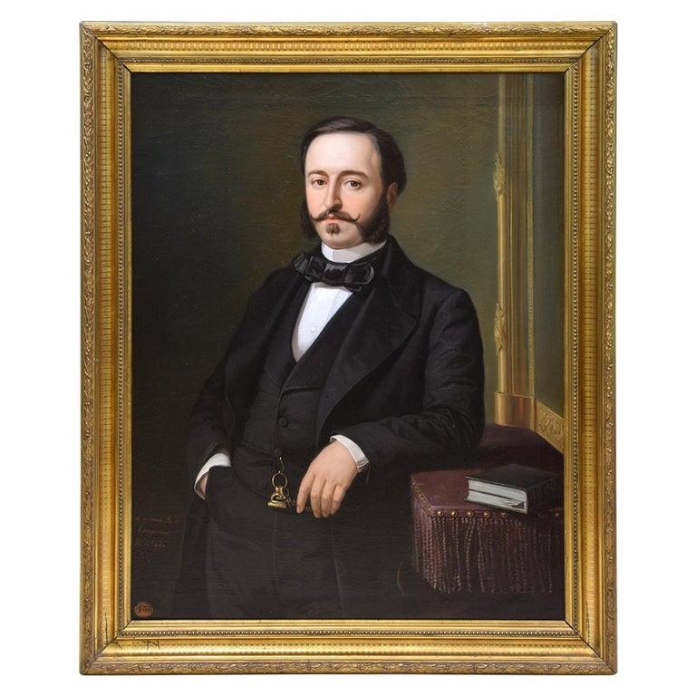 Ramón de Campoamor, Oil on Canvas, Signed, Ojeda Y Siles, Manuel, 1857 For Sale
