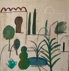 ALHAMBRA by Ramon Enrich - contemporary painting on wood, garden, architecture