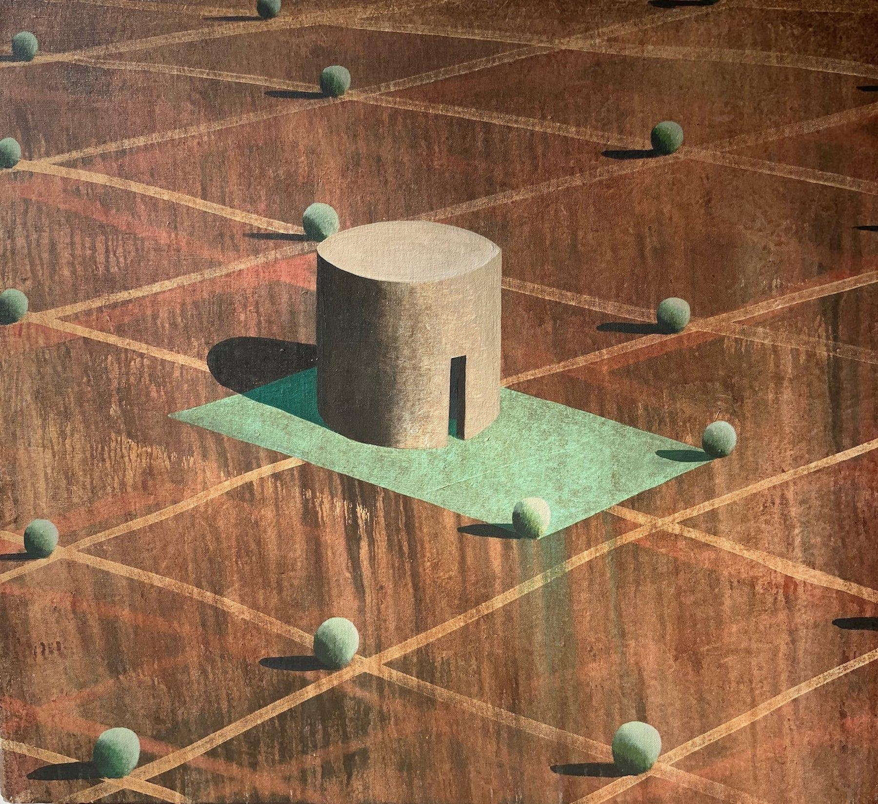 AMBSE by Ramon Enrich - Contemporary Geometric Landscape Painting, Earth Tones