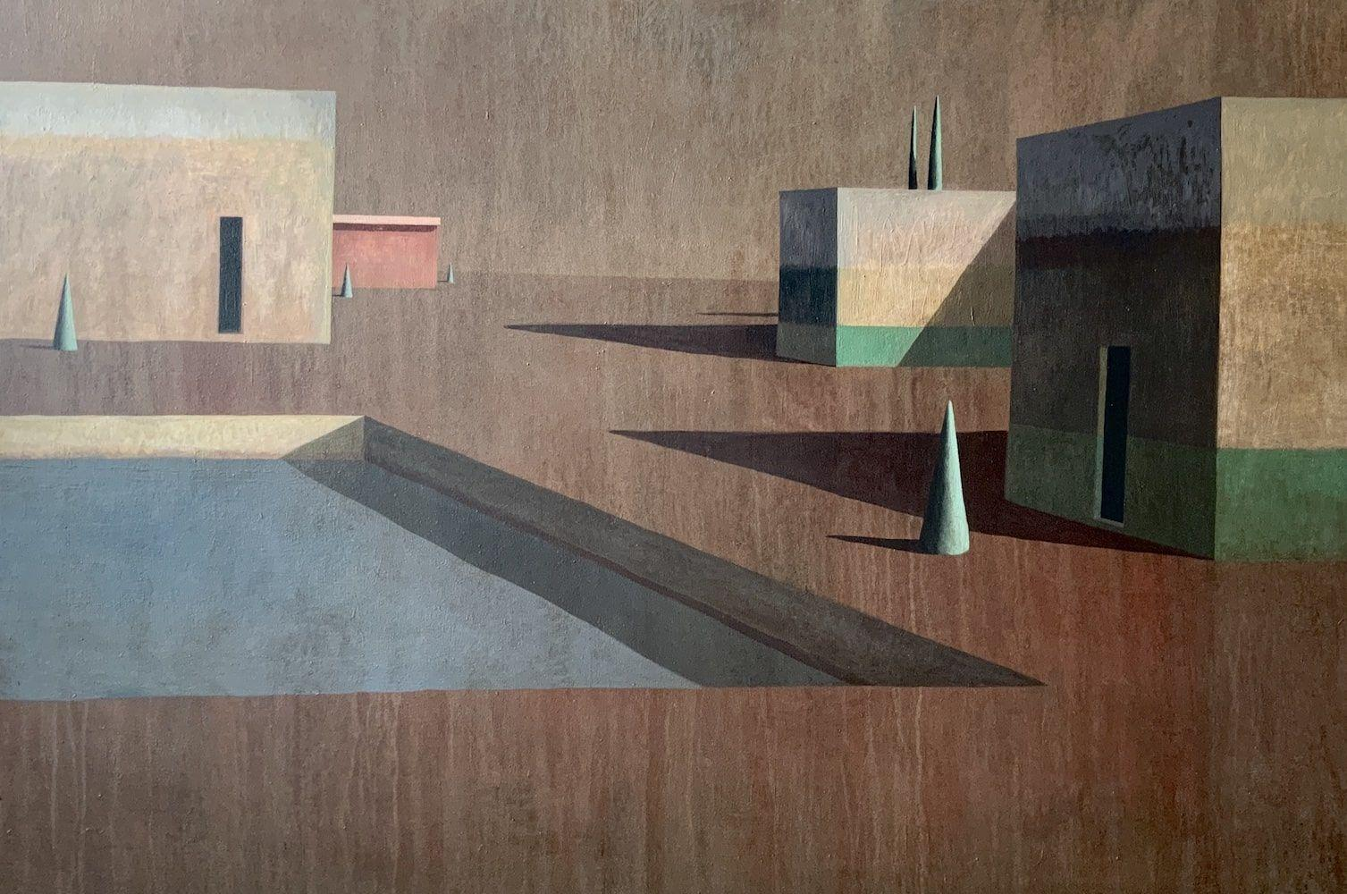 Arca 3 by Ramon Enrich - Contemporary Geometric Landscape Painting, earth tones