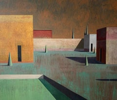Arca 6 by Ramon Enrich - Contemporary Geometric Landscape Painting, earth tones