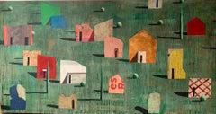 CITAT VERD - Contemporary Geometric Landscape Painting, Large scale