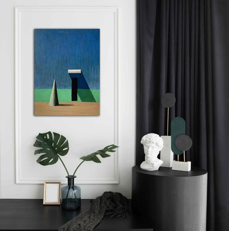 CUJOT PETIT by Ramon Enrich - Contemporary Geometric Landscape Painting, blue For Sale 1