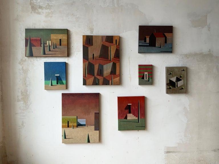 CUJOT PETIT by Ramon Enrich - Contemporary Geometric Landscape Painting, blue For Sale 2