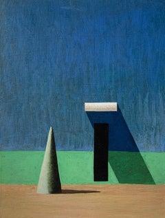 CUJOT PETIT by Ramon Enrich - Contemporary Geometric Landscape Painting, blue