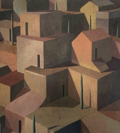 E.M.C by Ramon Enrich - Contemporary Geometric Landscape painting, earth tones