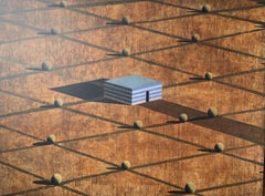 E.S. by Ramon Enrich - Large Geometric Landscape Painting, Earth Tones